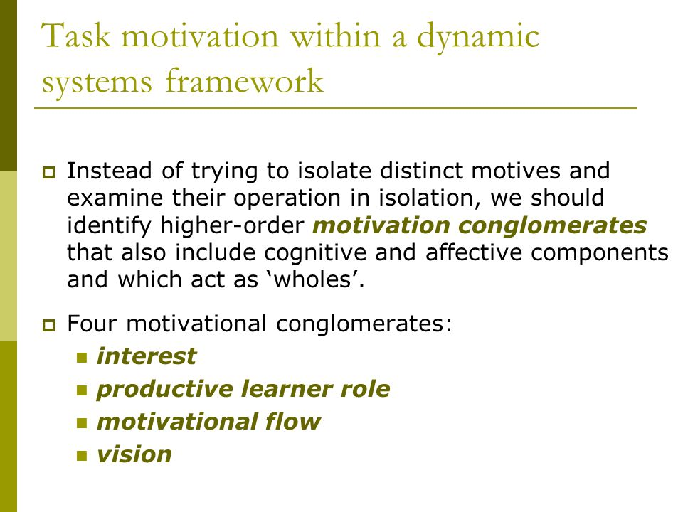 Task motivation within a dynamic systems framework