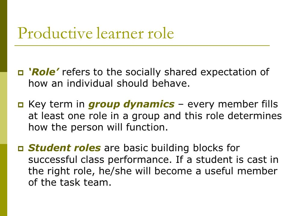 Productive learner role