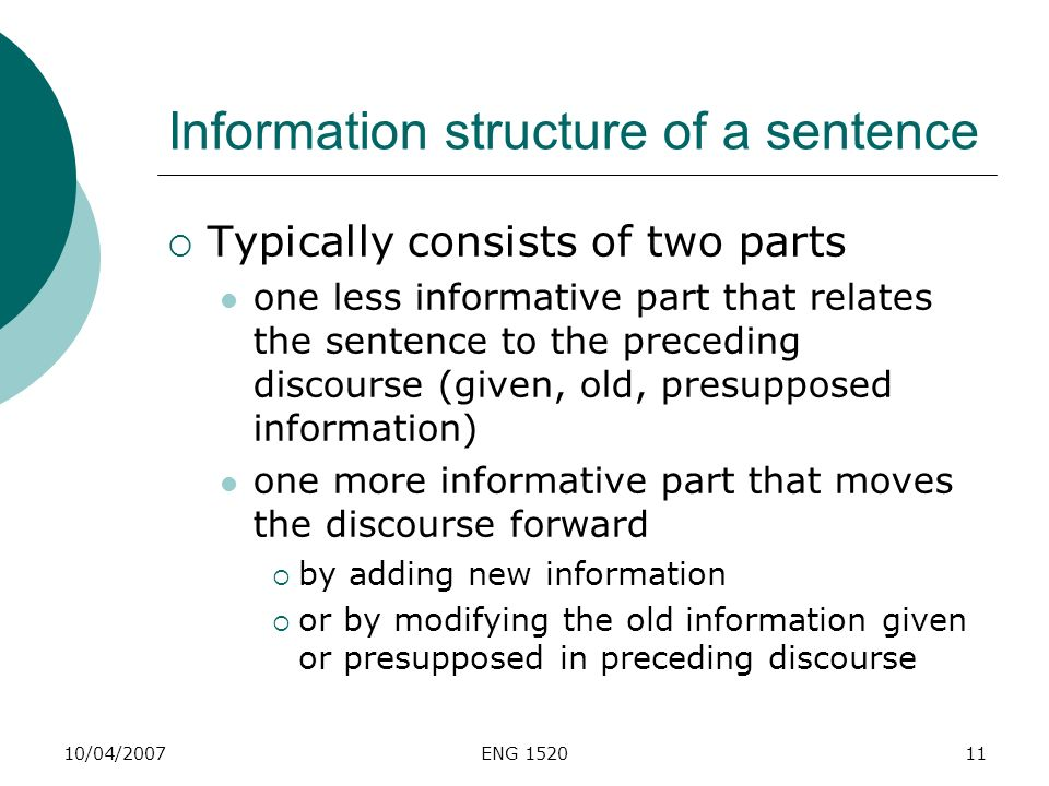 Information structure of a sentence