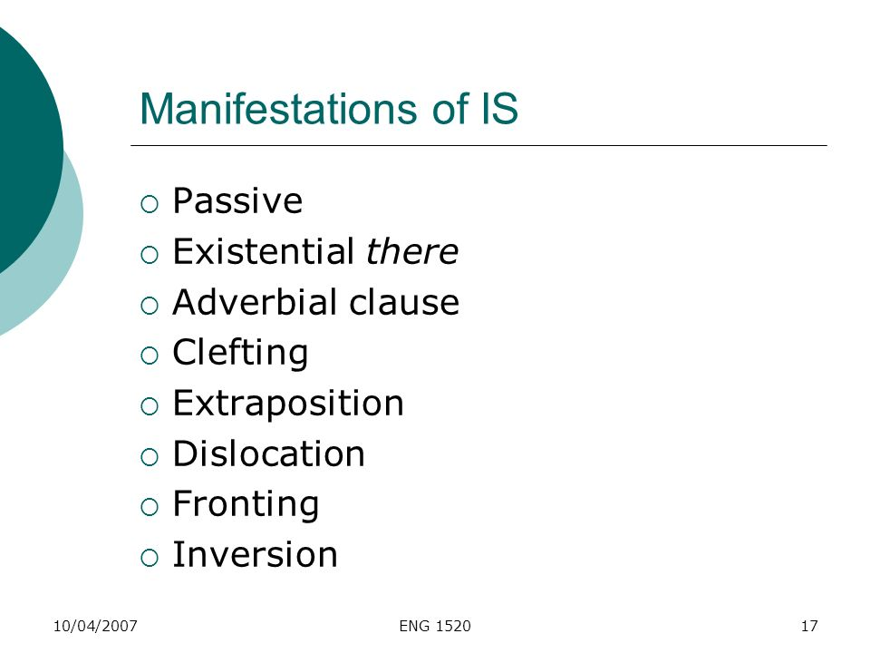 Manifestations of IS Passive Existential there Adverbial clause