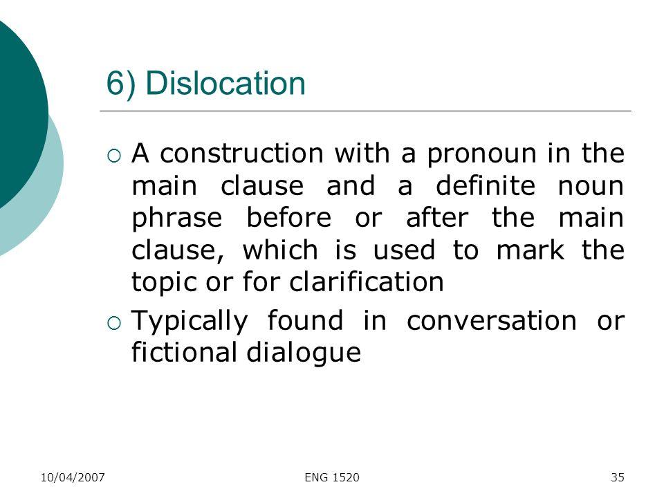 6) Dislocation