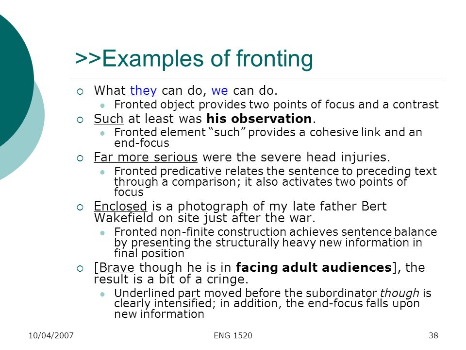 >>Examples of fronting