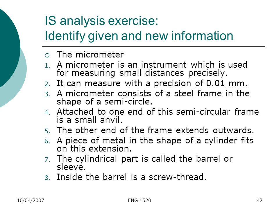 IS analysis exercise: Identify given and new information