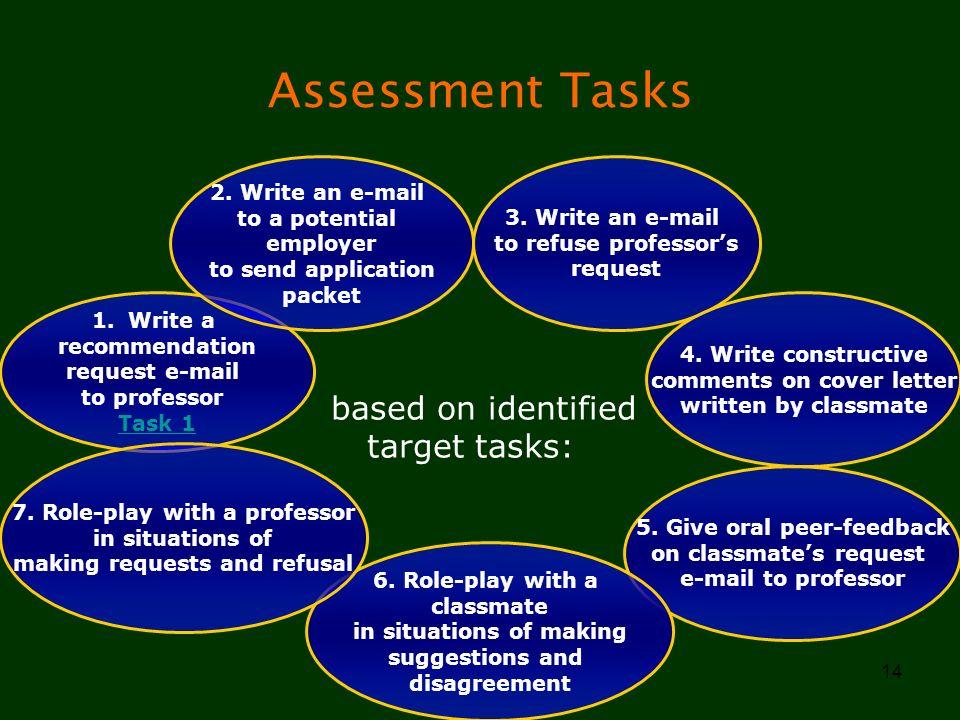 Assessment Tasks based on identified target tasks: 2. Write an e-mail