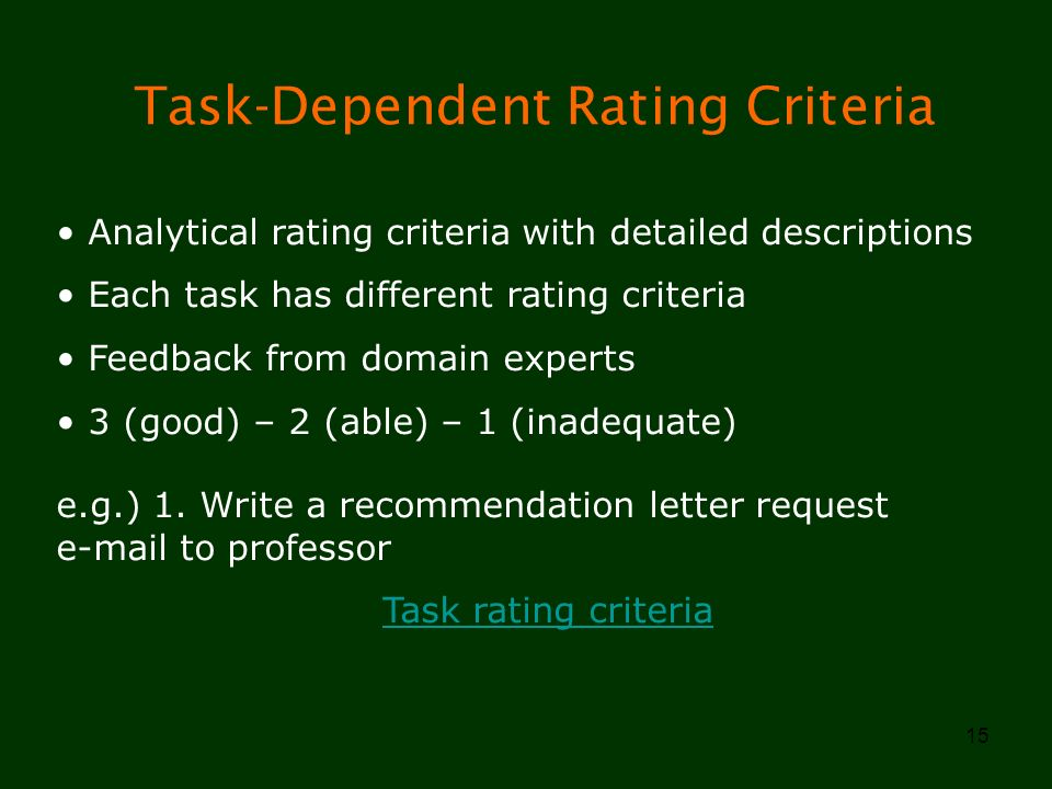 Task-Dependent Rating Criteria