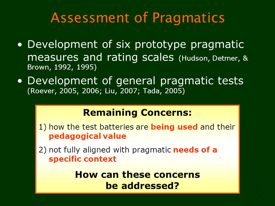 Assessment of Pragmatics