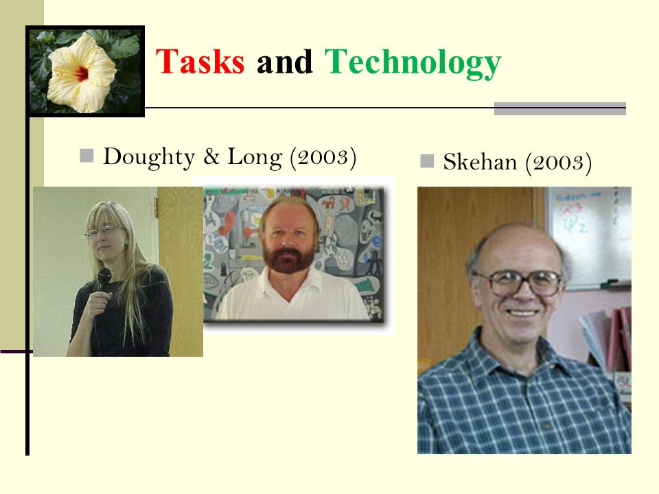 Tasks and Technology Doughty & Long (2003) Skehan (2003)