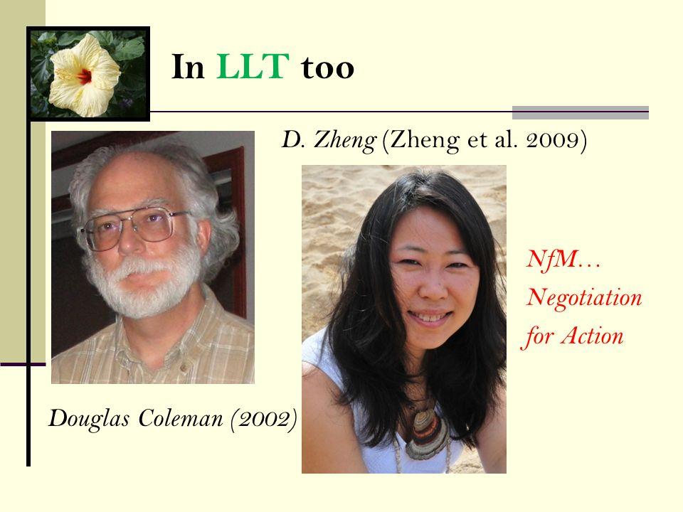 In LLT too D. Zheng (Zheng et al. 2009) NfM… Negotiation for Action