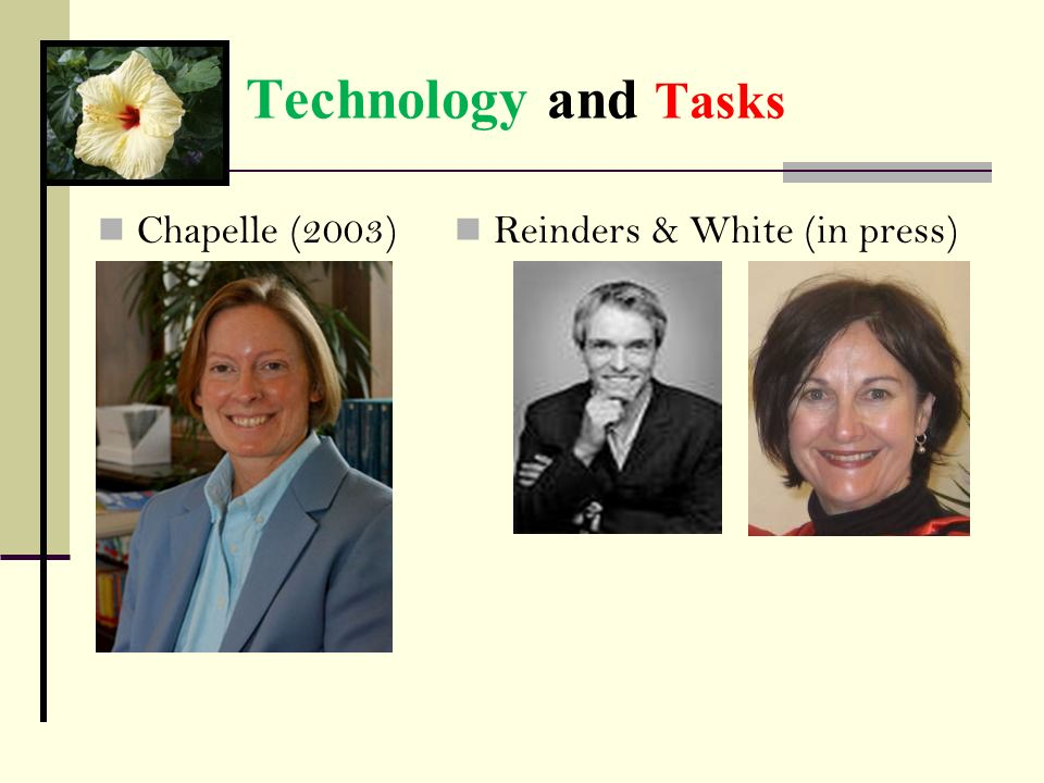 Technology and Tasks Chapelle (2003) Reinders & White (in press)
