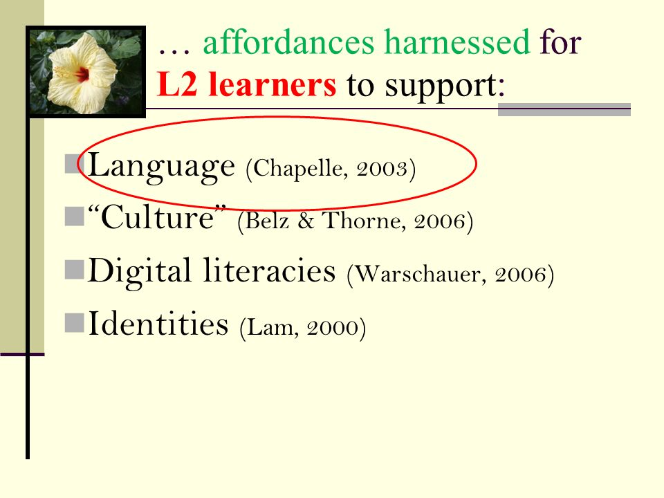 … affordances harnessed for L2 learners to support: