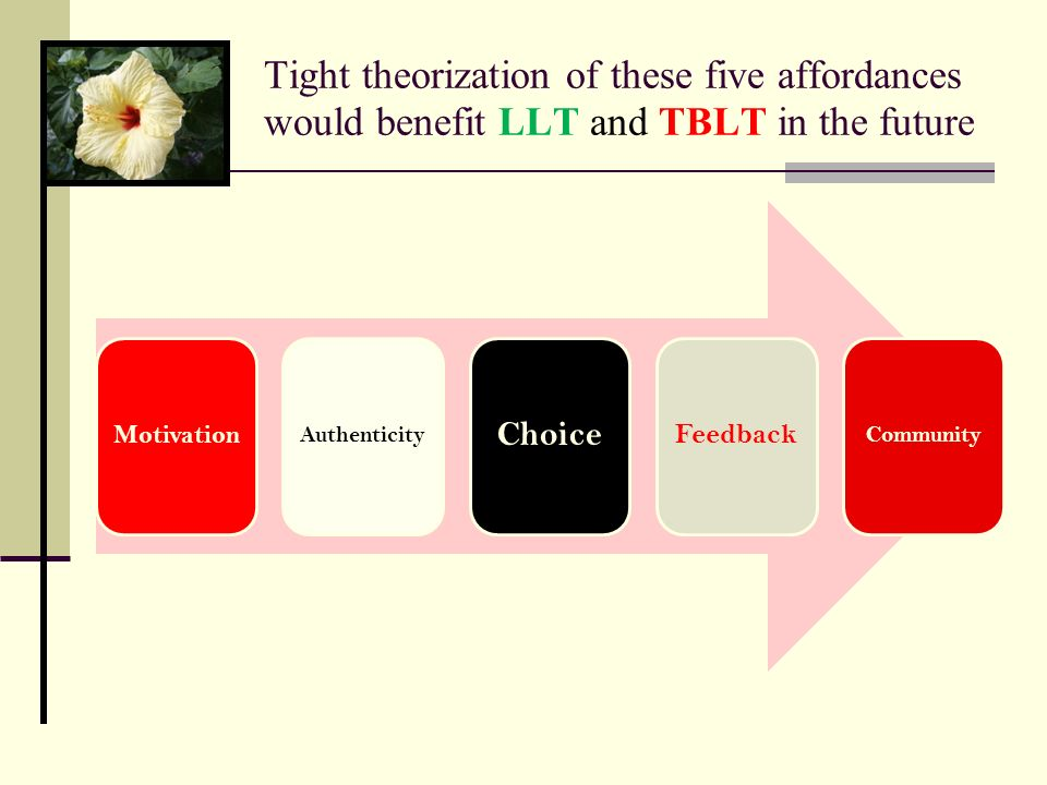 Tight theorization of these five affordances would benefit LLT and TBLT in the future