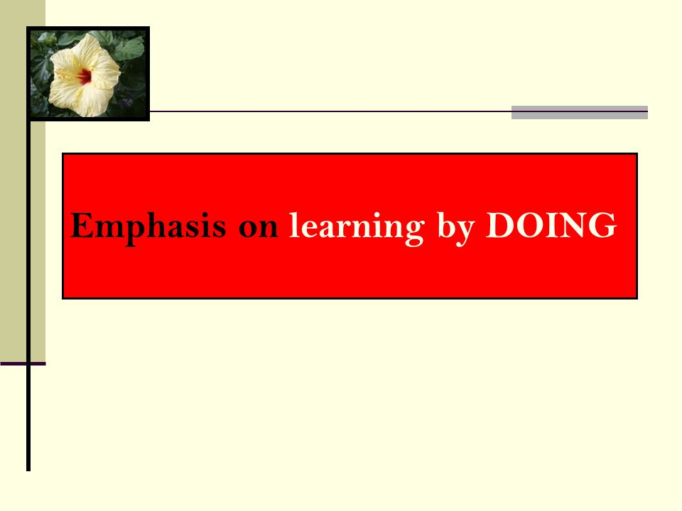 Emphasis on learning by DOING