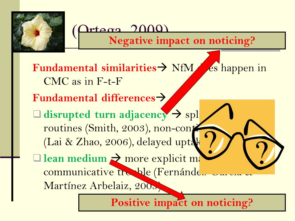 Negative impact on noticing Positive impact on noticing