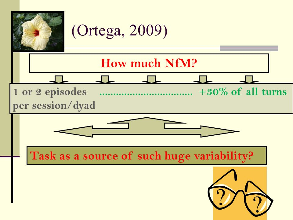 (Ortega, 2009) How much NfM 1 or 2 episodes .................................. +30% of all turns.