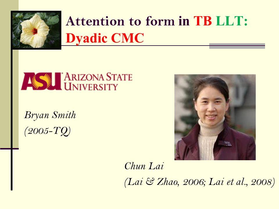 Attention to form in TB LLT: Dyadic CMC
