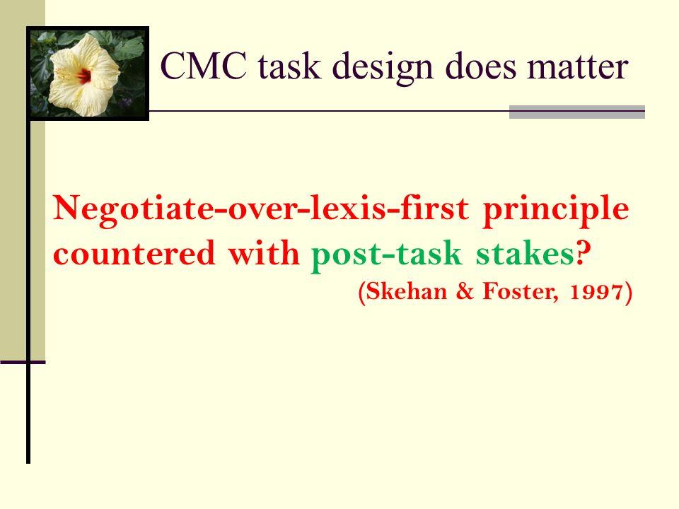 CMC task design does matter
