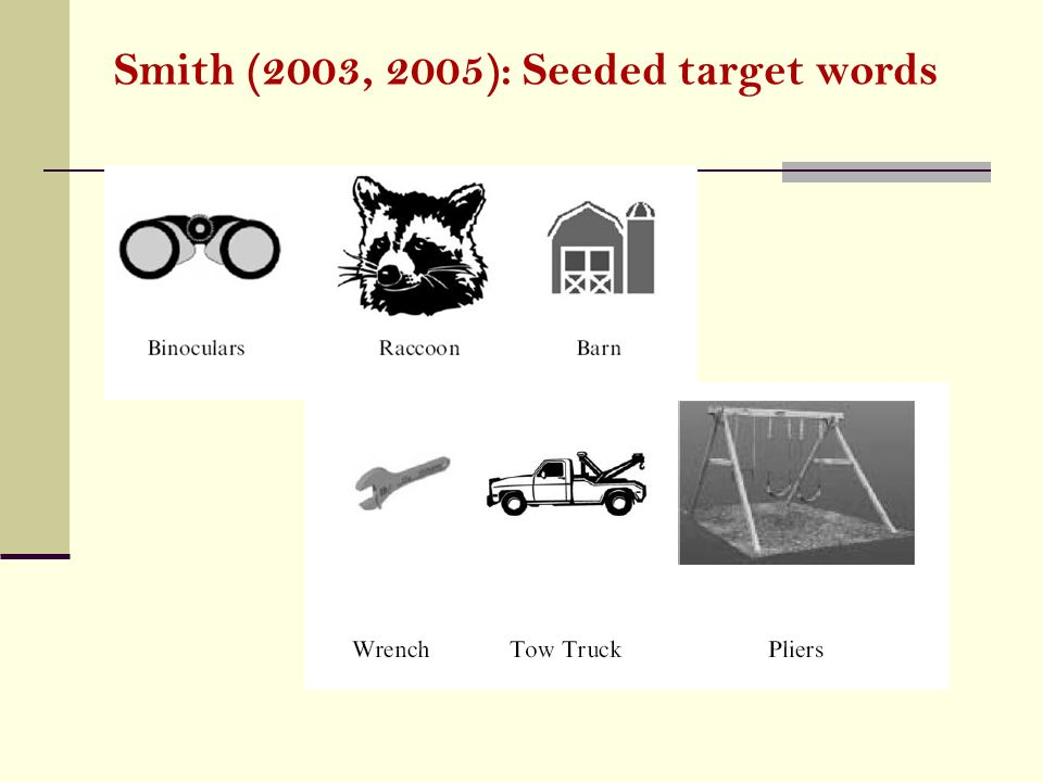Smith (2003, 2005): Seeded target words