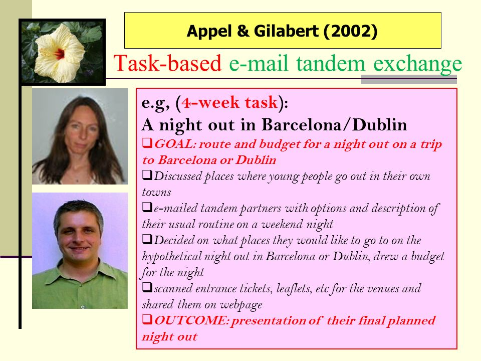 Task-based e-mail tandem exchange
