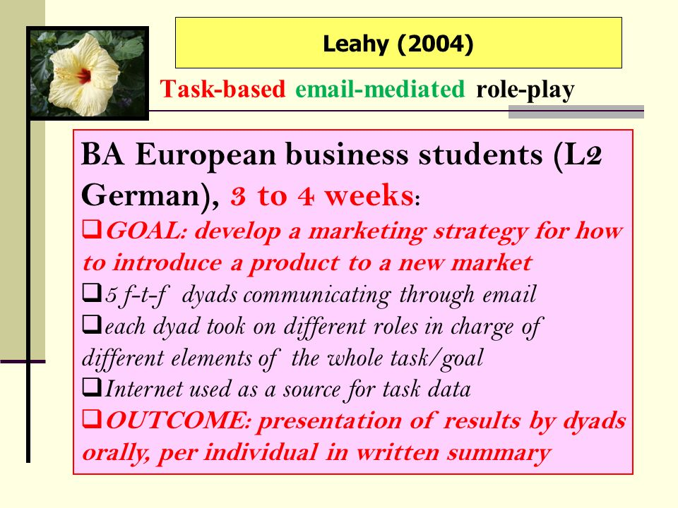 Task-based email-mediated role-play