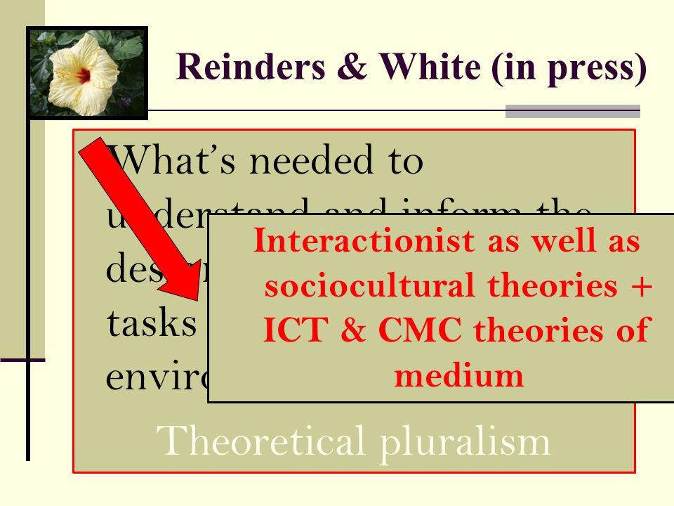 Reinders & White (in press)