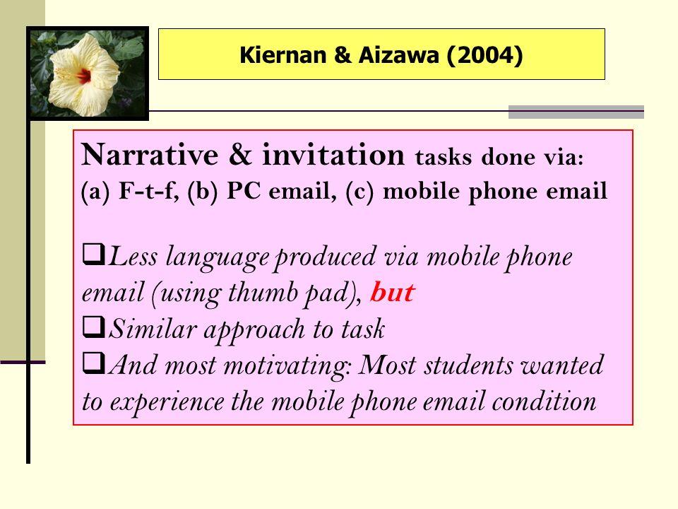 Narrative & invitation tasks done via: