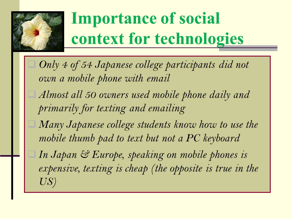 Importance of social context for technologies