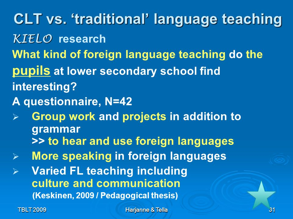 CLT vs. 'traditional' language teaching