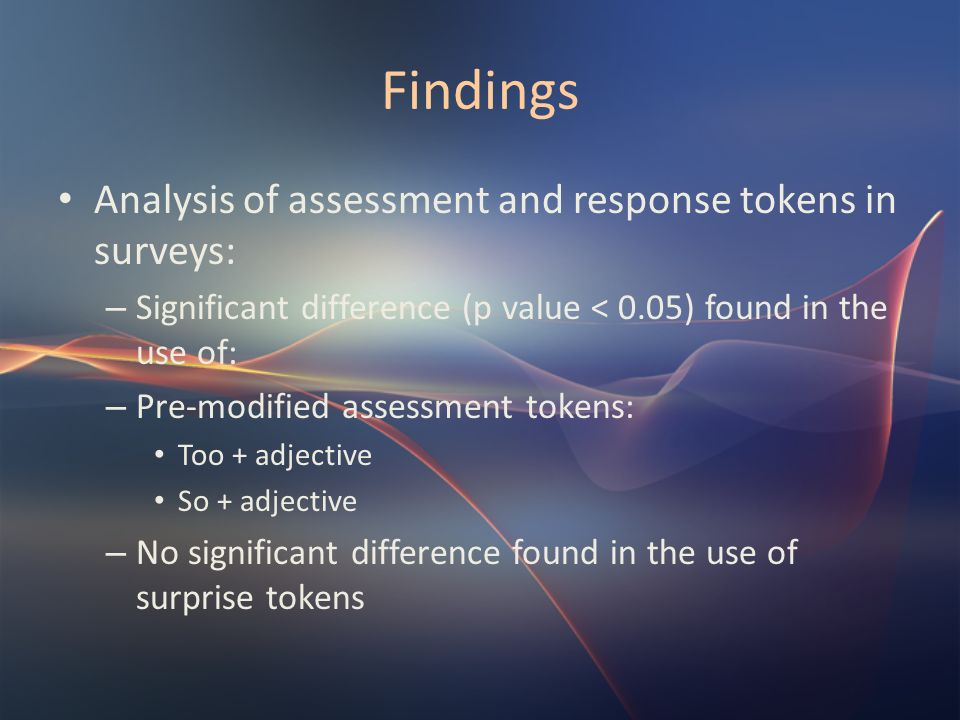 Findings Analysis of assessment and response tokens in surveys: