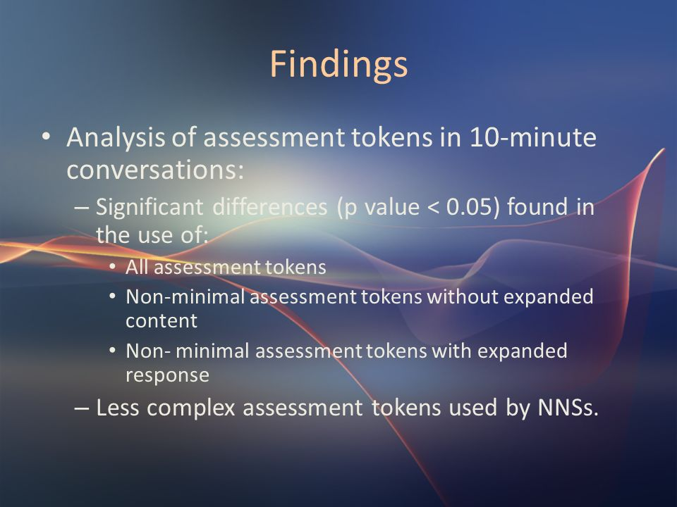 Findings Analysis of assessment tokens in 10-minute conversations: