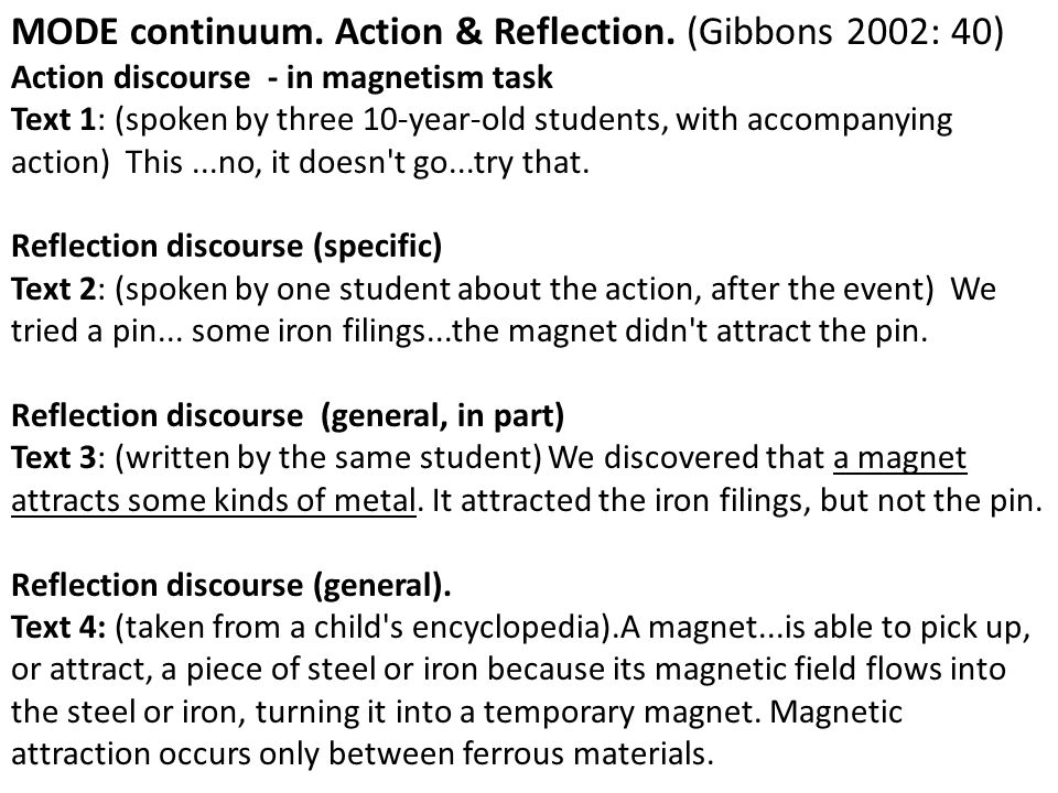 MODE continuum. Action & Reflection. (Gibbons 2002: 40)