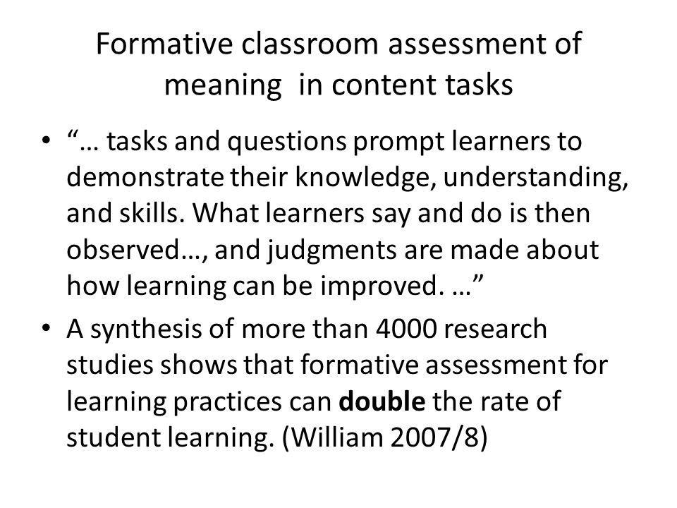 Formative classroom assessment of meaning in content tasks