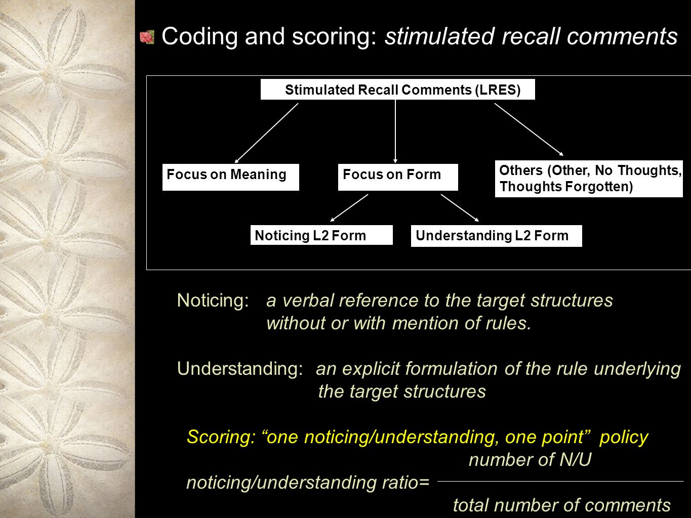 Coding and scoring: stimulated recall comments