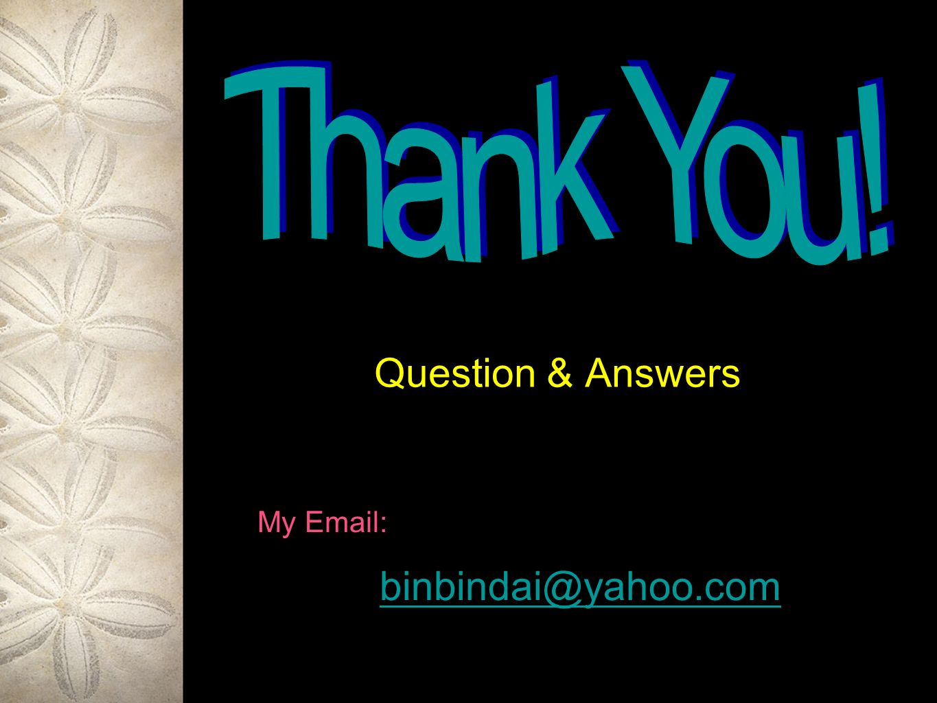 Thank You! Question & Answers My Email: binbindai@yahoo.com