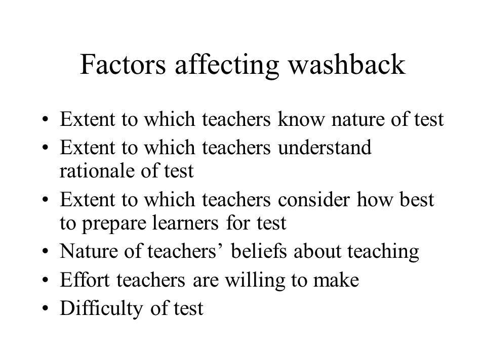 Factors affecting washback