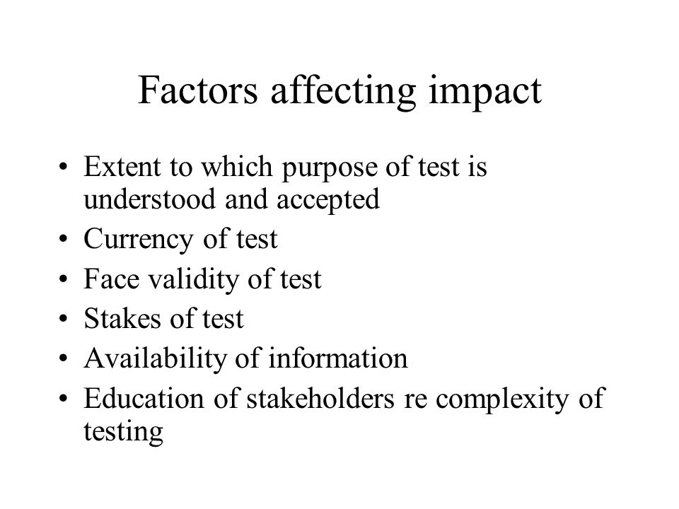 Factors affecting impact