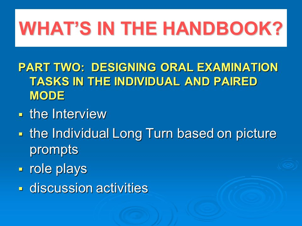 WHAT'S IN THE HANDBOOK the Interview