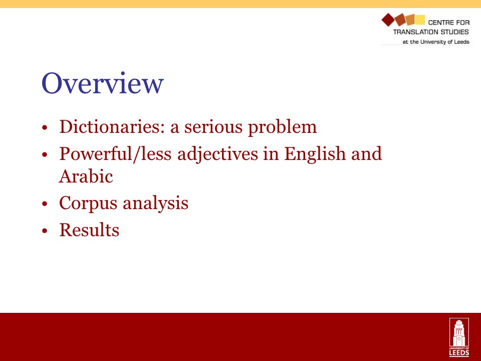 Overview Dictionaries: a serious problem