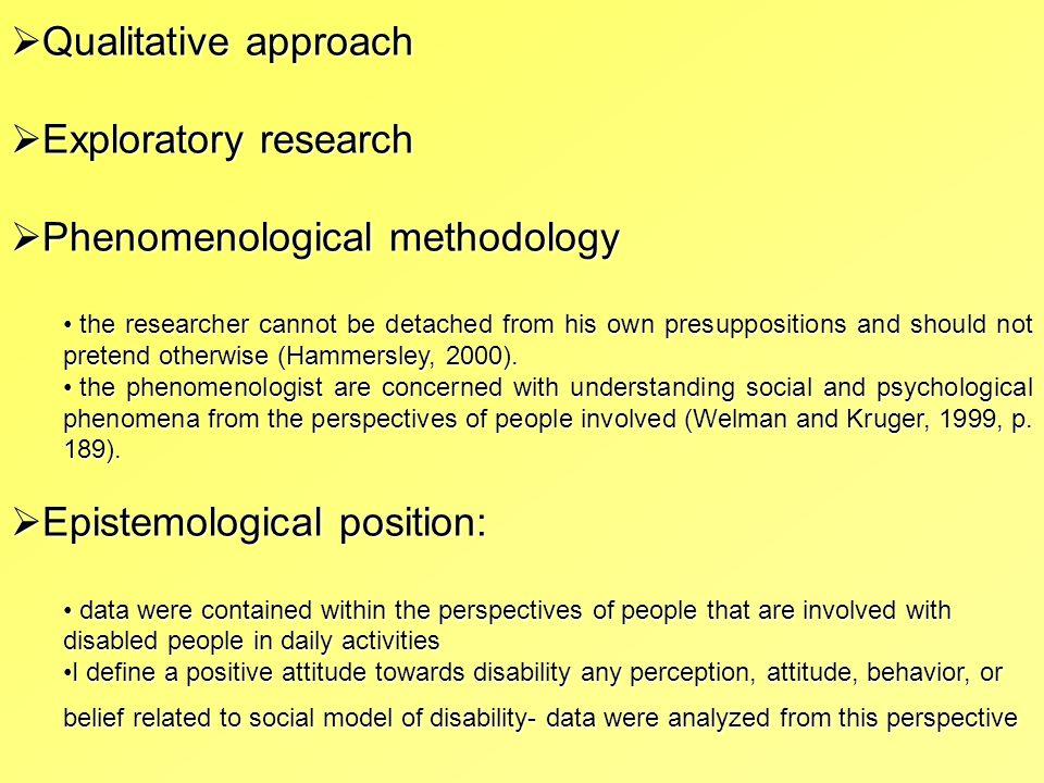 Phenomenological methodology