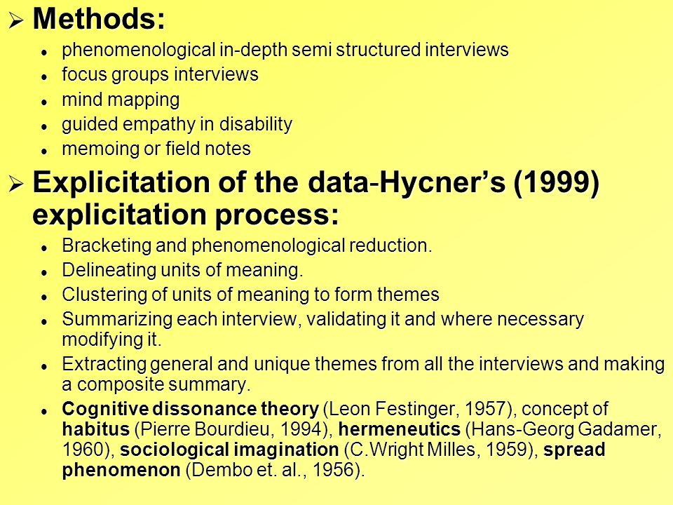 Explicitation of the data-Hycner's (1999) explicitation process: