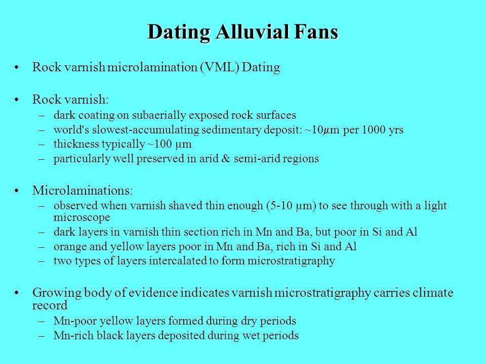 Dating Alluvial Fans Rock varnish microlamination (VML) Dating