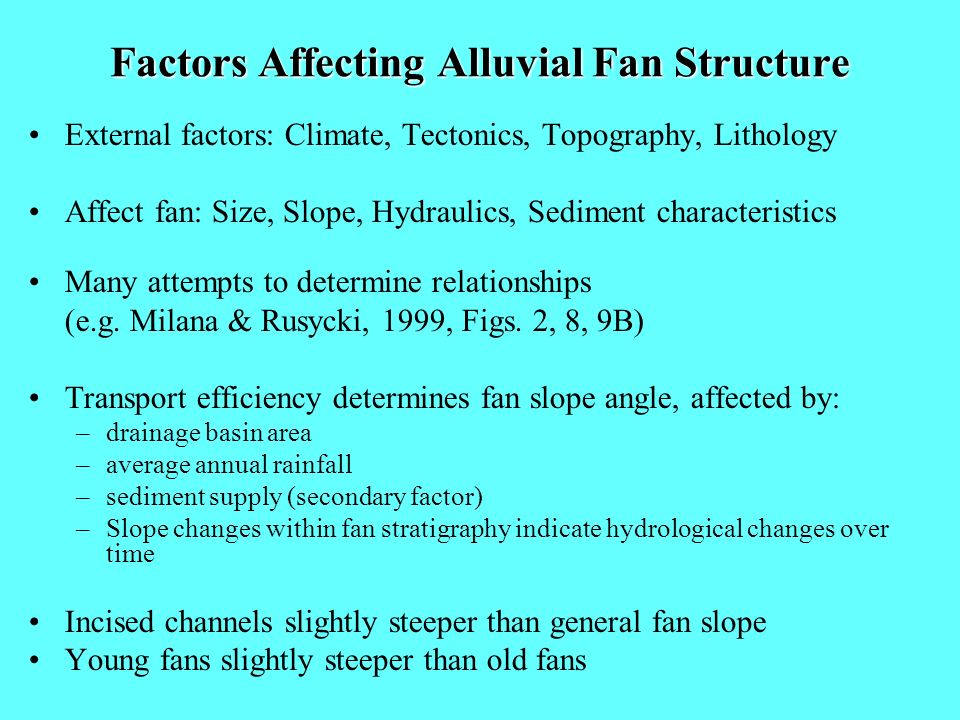 Factors Affecting Alluvial Fan Structure