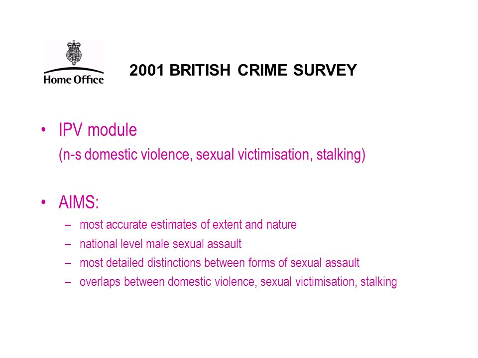 IPV module AIMS: 2001 BRITISH CRIME SURVEY