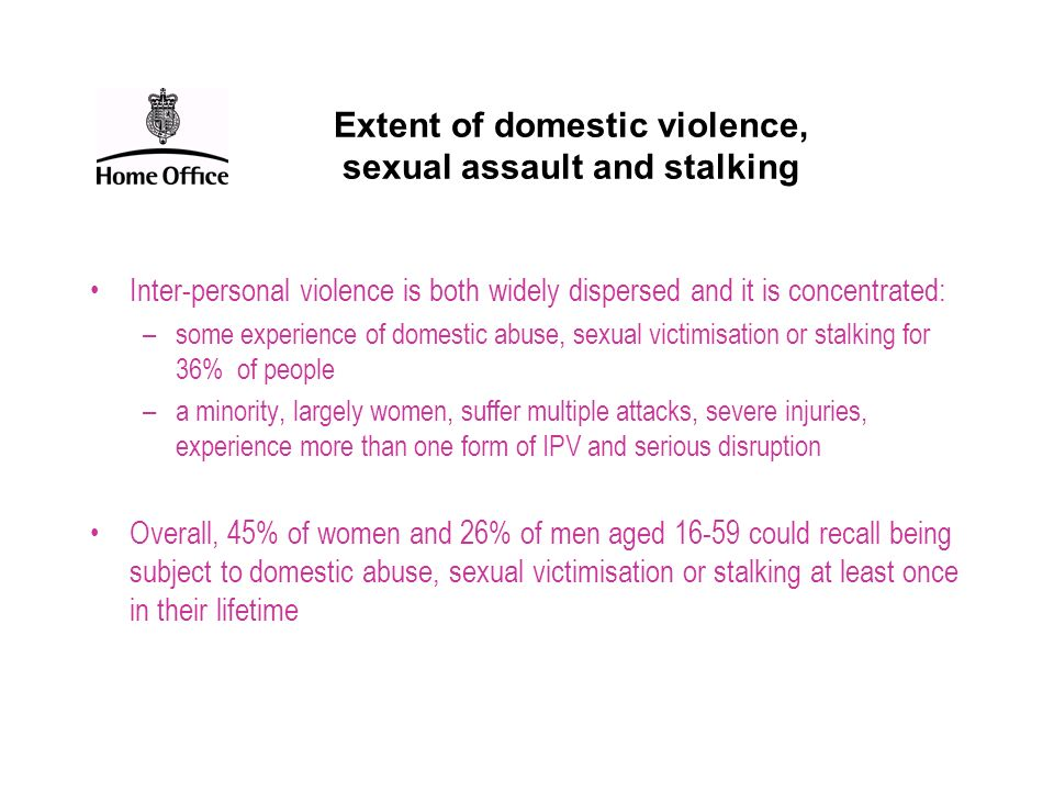 Extent of domestic violence, sexual assault and stalking