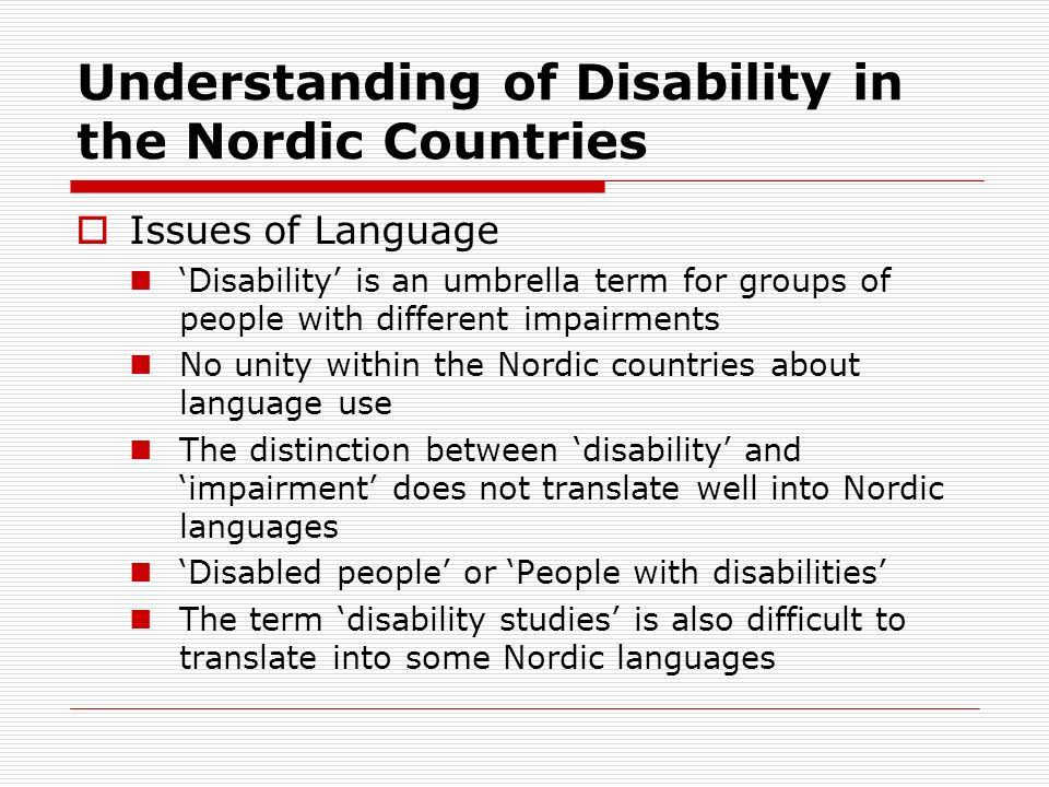 Understanding of Disability in the Nordic Countries