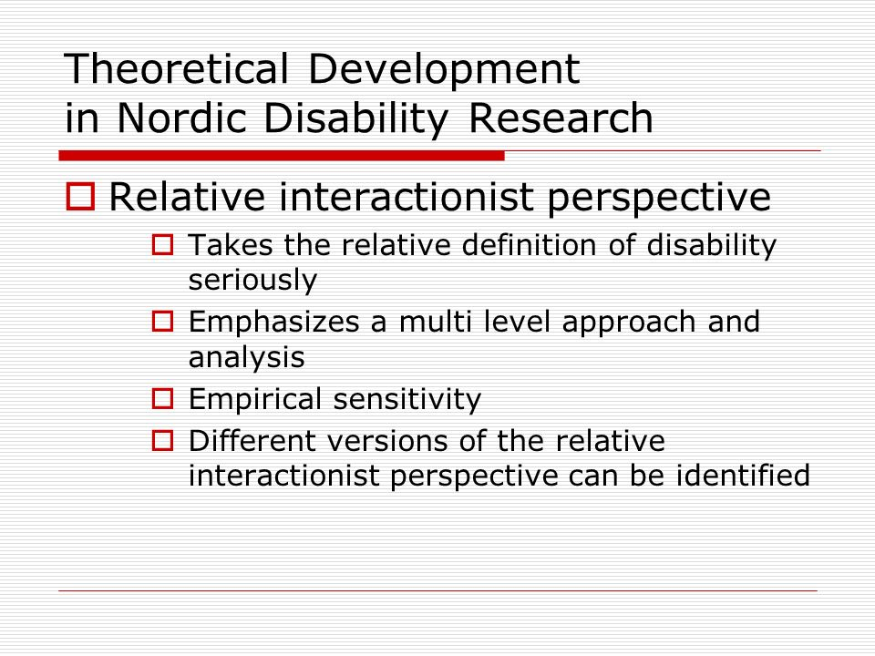 Theoretical Development in Nordic Disability Research