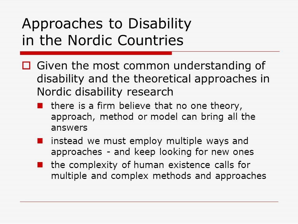 Approaches to Disability in the Nordic Countries
