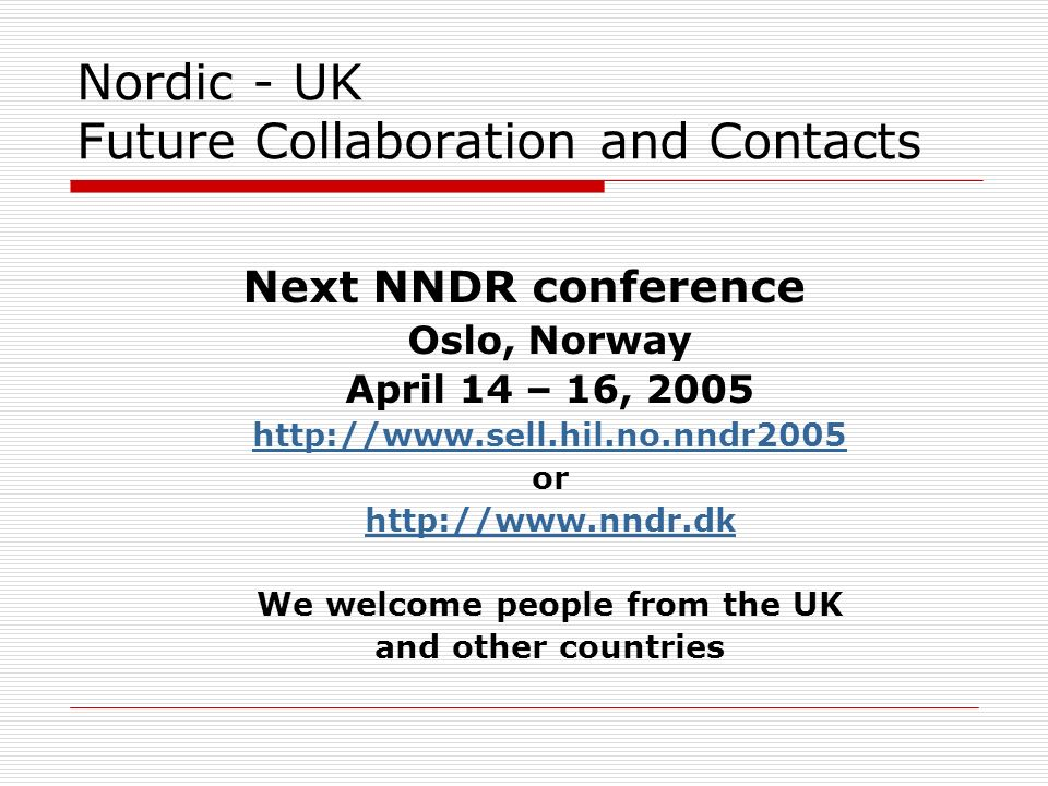 Nordic - UK Future Collaboration and Contacts