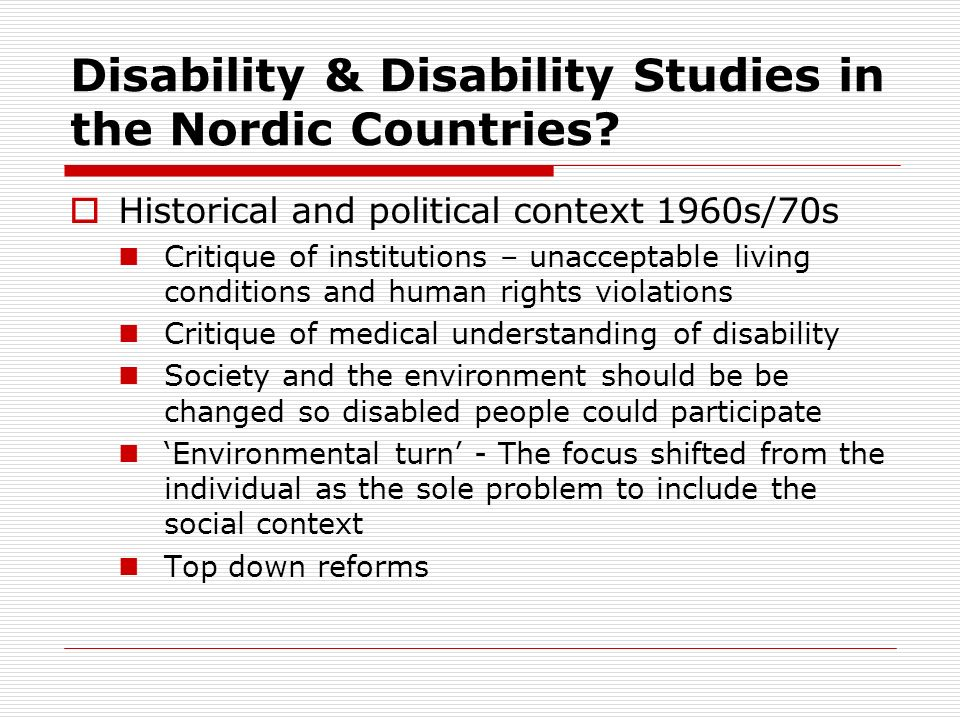 Disability & Disability Studies in the Nordic Countries