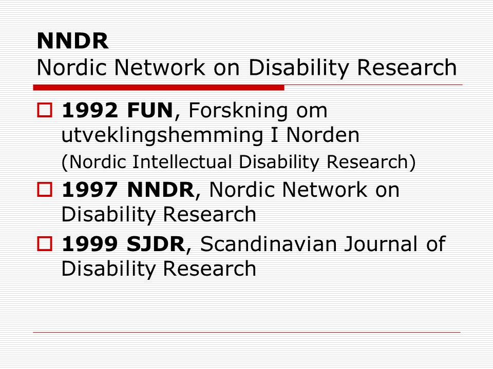 NNDR Nordic Network on Disability Research