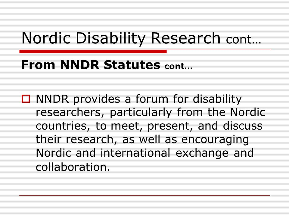 Nordic Disability Research cont…